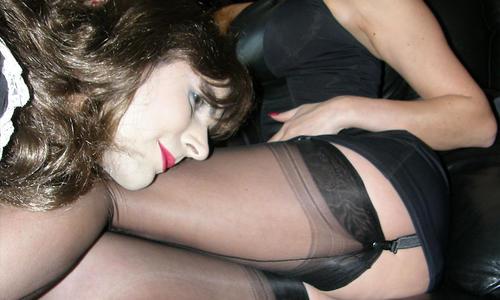 Slutty crossdressing maid gets spanked by