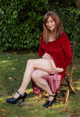 Lucimay posing outdoors in a petite long red dress  lucimay