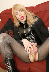 Blonde zoe cuts open her tights and plays with her dick  blonde zoe cuts open her tights and plays with her dick. Blonde Zoe cuts open her tights and plays with her cock