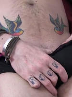 Preview Pantie Boyz - Tattoo'd Pantie Boy pulls down his black knickers and wanks his big cock.