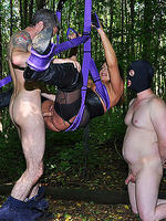 Suspended and restrained mistress carly turns her slave in to a