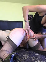 Preview Nylon Jane - Hot Milf Nylon Jane spanks Ella's lovely big ass and fingers and fucks her wet pussy